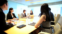Asian Chinese American Financial Business Executives Colleagues Boardroom - stock footage