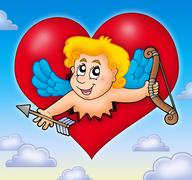 Cupid lurking from heart on sky - stock illustration