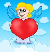 Cupid holding heart on sky - stock illustration