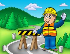 Construction worker standing on road Stock Illustration