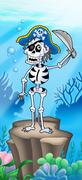 Pirate skeleton on sea bottom - stock illustration