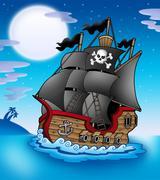 Stock Illustration of Pirate vessel at night