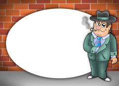 Round frame with cartoon gangster - stock illustration