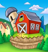 Red barn with fence on countryside Stock Illustration
