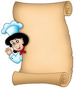 Parchment with lurking woman chef Stock Illustration