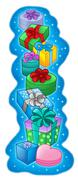 Pile of Christmas gifts on blue background Stock Illustration