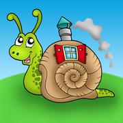 Snail with shell house on meadow - stock illustration