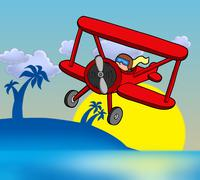 Sunset with biplane - stock illustration