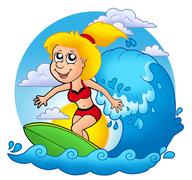 Surfer girl with Sun Stock Illustration