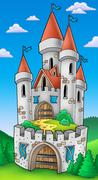 Tall castle with fortification - stock illustration