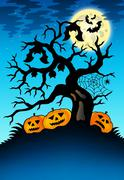 Spooky tree with bats and pumpkins Stock Illustration