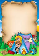 Scroll with group of camping kids Piirros
