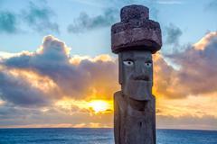 moai replica at sunset - stock photo