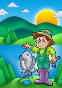 Small fisherman with fish Stock Illustration