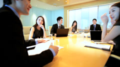 Male Female Asian Chinese Business Teamwork Boardroom Meeting Stock Footage