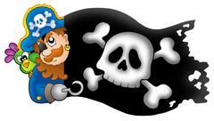 Lurking pirate with banner - stock illustration