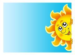 Lurking Sun on sky - stock illustration