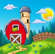 Meadow with big red barn Stock Illustration