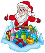 Happy Santa Claus with pile of gifts - stock illustration