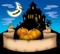 Haunted house with banner Stock Illustration
