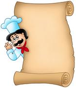 Parchment with lurking chef Stock Illustration