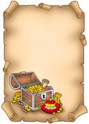 Parchment with big treasure chest Stock Illustration
