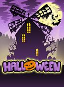 Mysterious Halloween mill  - stock illustration