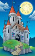Night view on big castle on hill - stock illustration