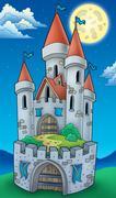 Night view on tall castle - stock illustration