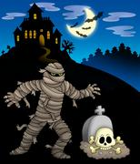 Mummy with haunted mansion Stock Illustration