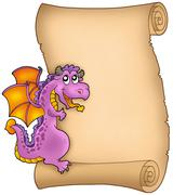 Old parchment with lurking dragon Stock Illustration
