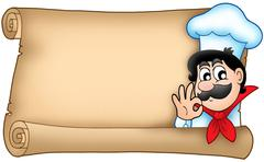 Old scroll with cute chef Stock Illustration
