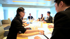 Ethnic Asian Chinese Business Management Conference Wireless Technology Stock Footage
