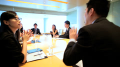 Stock Video Footage of Smart City Asian Chinese Businessmen Businesswomen Conference Room