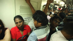 View of crowded local people traveling in train. Stock Footage
