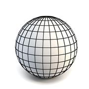 faceted white 3d sphere - stock photo