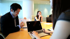 Male Female Asian Chinese Business Teamwork Boardroom Meeting - stock footage