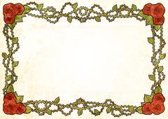 Modern roses frame with spikes on stem Stock Illustration
