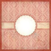 aged pink vintage lace frame on dirty paper - stock illustration