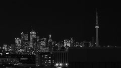 4k Timelapse of Toronto Skyline at Night (Black & white footage) Stock Footage