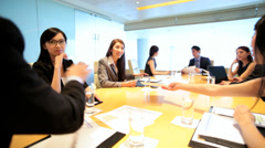 Asian Chinese American Financial Business Executives Colleagues Boardroom Stock Footage