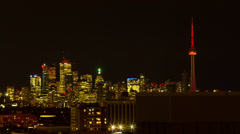 4k Timelapse of Toronto Skyline at Night Stock Footage