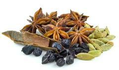 star anise ,barberry ,cinnamon, cardamom, - stock photo