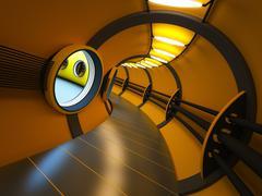 futuristic modern interior 3d rendering - stock photo