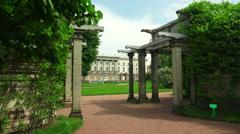 The garden near the Kagul obelisk. Pushkin. Catherine Park. Tsarskoye Selo. 4K. Stock Footage