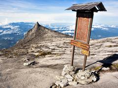 Checkpoint at the Top of Mount Kinabalu in Sabah, Malaysia Stock Photos