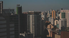 View of the city. Sao Paulo, Brazil. Horizontal pan.  Pollution 15 Stock Footage
