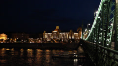 NIGHT GELLERT HOTEL 3 VIEW FROM LIBERTY BRIDGE SHIP LS Stock Footage