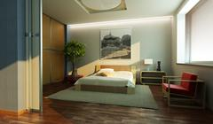 Japan style bedroom interior Stock Photos