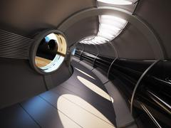 Futuristic modern interior 3d rendering Stock Photos